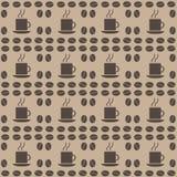 Coffee bean seamless pattern. Decorative seamless coffee bean pattern. Coffee grains with cup stock illustration