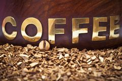 Coffee bean and soluble coffee Stock Image