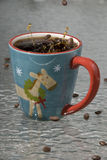 Coffee bean splash Stock Photography