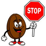 Coffee Bean with Stop Sign Royalty Free Stock Image