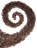 Coffee Bean Swirl. A swirl made of coffee beans isolated on white Stock Image