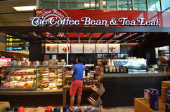 The Coffee Bean & Tea Leaf at Singapore Changi Airport. SINGAPORE- JUN 18, 2017: The Coffee Bean & Tea Leaf at Singapore Changi Airport. Changi Airport is Royalty Free Stock Photo