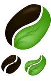 Coffee bean and tea leaf Stock Photo