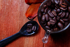 Coffee bean on tea spoon on wood table with copy space stock photos