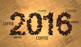 2016 Coffee Bean text on Old Paper Stock Images