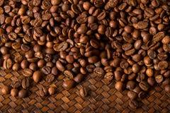 Coffee Bean. On wicker tray Royalty Free Stock Photo