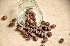 Coffee bean on wood background Stock Image