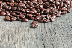 coffee bean on wood background. Stock Photo