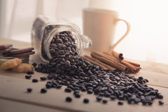 Coffee bean. On the wood table Stock Images
