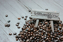Coffee bean, wooden background, brown cafe bean Stock Images