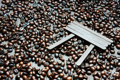 Coffee bean, wooden background, brown cafe bean Royalty Free Stock Images