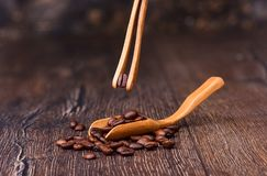 Coffee bean in wooden tweezers. Coffee beans in a wooden ladle. stock photos
