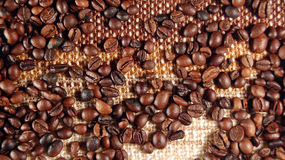 Coffee beans 02. Coffee beans on textile background Stock Photography