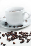Coffee beans. Spilled coffee beans with cup on the background Stock Image
