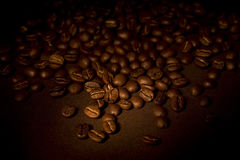 Coffee beans. On brown background Stock Photo