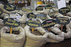 Coffee Beans. Variety of Flavors in a Shop Stock Images