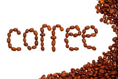 Coffee Beans. Inscription from the coffee beans on white background Royalty Free Stock Images