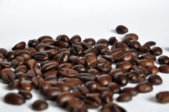Coffee Beans. Unordered pile of fine arabica coffee beans stock photo