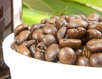 Coffee beans. Bowl with roasted coffee beans Stock Image