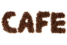 Coffee beans. Word cafe made of coffee beans Royalty Free Stock Image