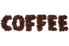Coffee beans. Word coffee made of coffee beans Stock Images