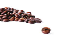Coffee beans. Closeup of a single coffee bean in front of many Stock Photo