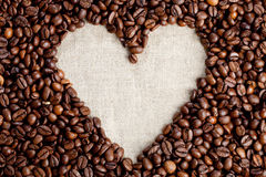 Coffee beans. I love coffee - heart of coffee beans Stock Photos