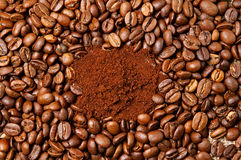 Coffee Beans. Roasted Grain and Ground Coffee Royalty Free Stock Photos