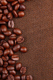 Coffee beans. On brown cloth Royalty Free Stock Image