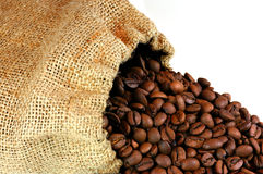 Coffee Beans. Burlap sack of coffee beans Stock Photography