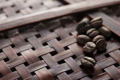 Coffee beans. On brown basket Royalty Free Stock Photo