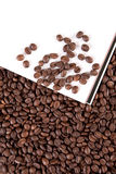 Coffee beans. With white paper Stock Images