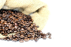 Coffee beans. In a jute bag Stock Image