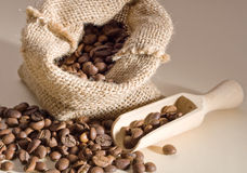 Coffee beans. In a linen bag Stock Photo