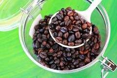 Coffee beans. Brown coffee, background texture, close-up Stock Photos