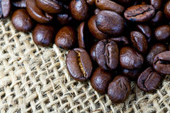 Coffee beans. Closeup of coffee beans on a sack Royalty Free Stock Images