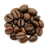 Coffee beans. Close-up of coffee beans on white background Royalty Free Stock Image