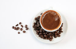 Black Coffee and beans royalty free stock photos