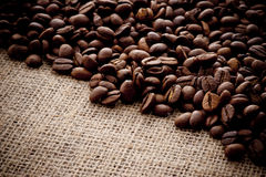 Coffee beans. On hemp cloth Royalty Free Stock Images