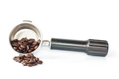 Coffee beans. Close up Coffee Maker And Beans Royalty Free Stock Photos