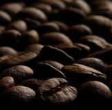 Coffee Beans. Up Close  With Black Background Stock Photos