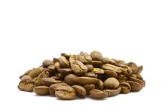 Coffee Beans. Side view of coffee beans on white background. This beans are dark roasted stock photography