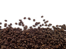 Coffee beans. Scattered coffee beans on the light background Royalty Free Stock Image