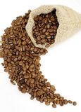Coffee beans. In the bag easy to isolate on white background Royalty Free Stock Photography