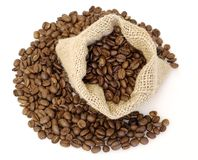 Coffee beans. In the bag easy to isolate on white background Royalty Free Stock Images