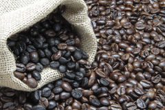 Coffee beans. Bag with some coffee beans Royalty Free Stock Image
