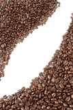 Coffee beans. Closeup of coffee beans on plain background. Copy space Stock Image