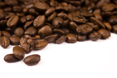 Coffee Beans. Close up pictures of spilt coffee beans Stock Images