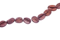 Coffee beans. In a row isolated on white background - clipping path included Royalty Free Stock Photography