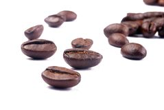 Coffee beans. Close-up shot on white background Royalty Free Stock Photo